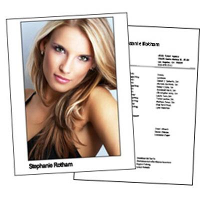 Headshot 8½x11 Double Sided 1 Photo plus resume