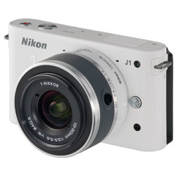 Nikon-1 J1 Compact Interchangeable Lens Camera with 10-30mm VR Lens - White-Digital Cameras