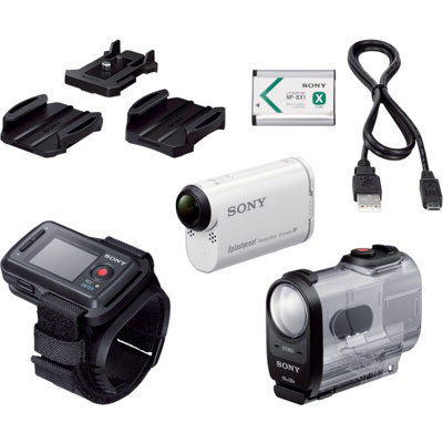 Sony-AS200V Action Cam with Wi-Fi and GPS HDR-AS200VR/W - Body and Live-View Remote Kit - White-Video Cameras