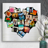 20 x 20 Heart Collage Metal Print - 20 photos