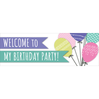 12 x 36 Birthday Balloons Banner