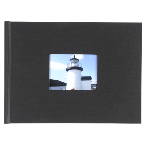 8.5x11 Hardbound Linen Book with Keyhole (Black)