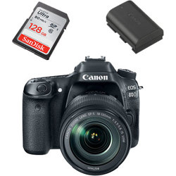 Canon-EOS 80D Digital SLR Camera with EF-S 18-135mm IS USM Lens - 128GB SD Card and LP-E6N Battery-Digital Cameras