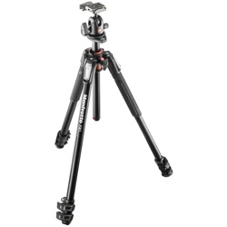 Manfrotto-190 Kit Aluminum 3-Section Horizontal Column Tripod with Ballhead #MK190XPRO3-BH-Tripods & Monopods