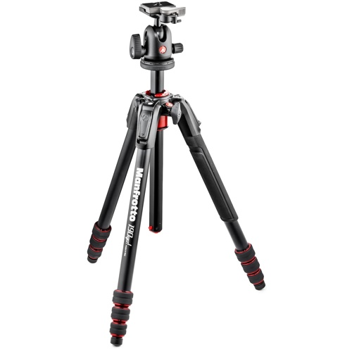 Manfrotto-190 Go! Kit Alu Black 4 Section with Twist Locks and Ball Head #MK190GOA4TB-BH-Tripods & Monopods