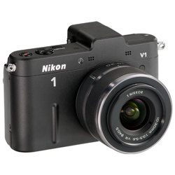 Nikon-1 V1 Compact Interchangeable Lens Camera with 10-30mm VR Lens - Black-Digital Cameras