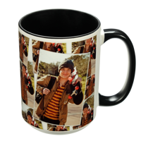 15 oz. Tiled Ceramic Black Photo Mug