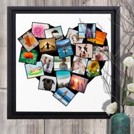 20 x 20 Framed Canvas Heart Collage - 20 photos