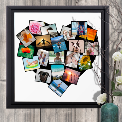 20 x 20 Framed Canvas Heart Collage - 20 photos