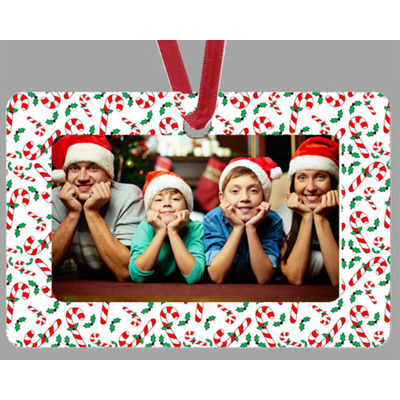 Rectangle Ornament, Candy Cane Framed,