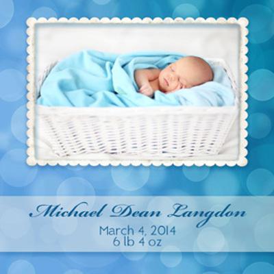 Bokeh Blue Newborn Magnet