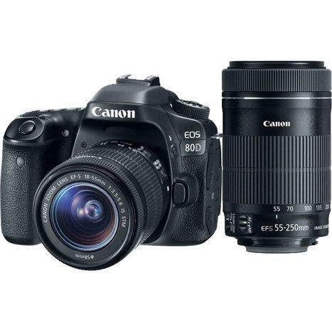 Canon EOS 80D Digital SLR Camera with EF-S 18-55mm IS STM and EF-S 55-250mm  IS STM Lenses - Black