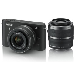 Nikon-1 J1 Compact Interchangeable Lens Camera with 10-30mm and 30-110mm VR Lens - Black-Digital Cameras