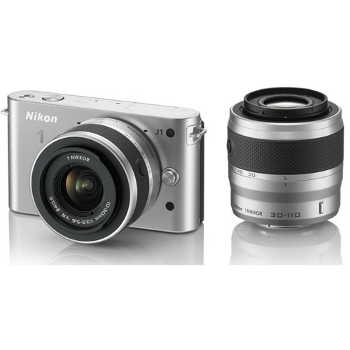 Nikon-1 J1 Compact Interchangeable Lens Camera with 10-30mm and 30-110mm VR Lens - Silver-Digital Cameras