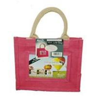 Jute Photo Fashion Bags 4x6 Pink