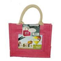 Jute Photo Fashion Bags 8x10 Pink