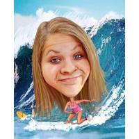 Surfing Female + 8x10'' Print