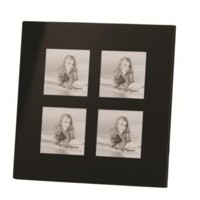 Multi Picture Black Glass Frame for 4 3x3-inch Photos