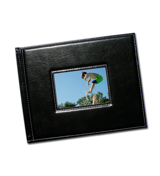 8.5 x 11 (Unibind) Padded Black Stitched Leather with Window