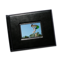 8.5 x 11 Premium Padded Black Stitched Leather with Window w bleed