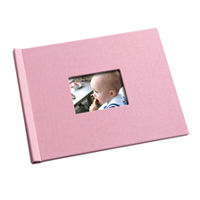 8.5 x 11 (Unibind) Pink Weave Photo Book with Window
