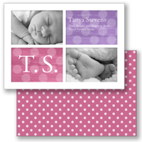 5x7  2 Sided Card  (Big Dots - Pink)