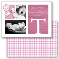 5x7  2 sided Card  (Baby Rattle B - Pink)