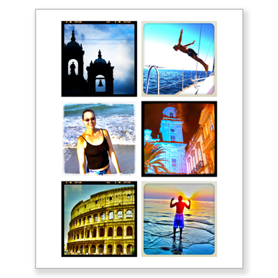 8 X 10 Collage With 6 Square Photos Gift Specifications