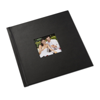 8 x 8 Black Leather Photo Book with Window