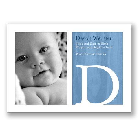 5x7 - Flat Photo Card - Big Monogram - Blue (1 Sided Card)