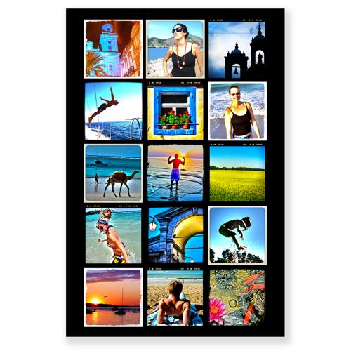 Collage avec 15 photos carrées - 20 x 30