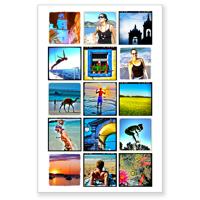 """Montage avec 15 photos sur fond blanc (24""""x36"""") - Vertical"""