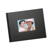 8.5 x 11 (Unibind) Black Linen Photo Book with window