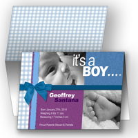 5x7  Folded Card  (It's a Boy - Blue)