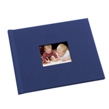 8.5 x 11 (HP) Navy Blue Linen Photo Book with Window