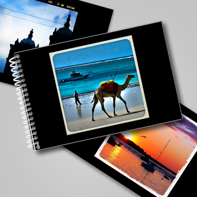 5x7 Flip Book - Black with Square Frame