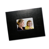8.5 x 11 Black Leather Photo Book with Cover Window