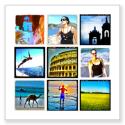 8 x 8 collage with 9 square photos