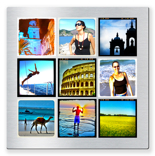 "10x10"" Single Layer HD Metal 9 Square Photos"