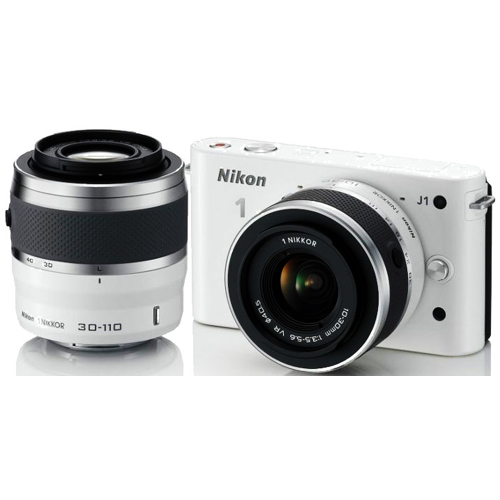 Nikon-1 J1 Compact Interchangeable Lens Camera with 10-30mm and 30-110mm VR Lens - White-Digital Cameras
