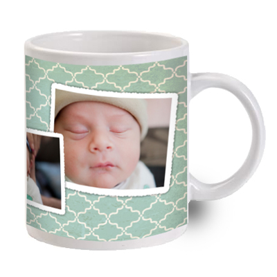 Mint Pattern Photo Mug with Text