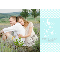 Turquoise Chevrons: 10pk Save the Date Cards