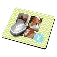 Mousepad - 4 images + monogram, green background