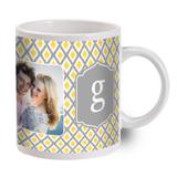 Yellow and Grey Monogram Photo Mug