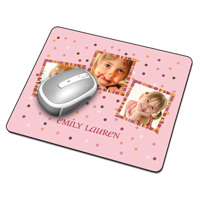 Mousepad - 3 images + text, pink background