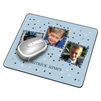 Mousepad - 3 images + text, blue background