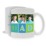 "11oz. White Ceramic Mug ""Dad"" Three Images (PG-71F)"