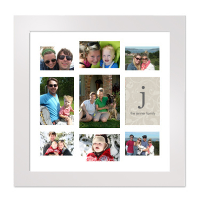 Framed Collage Print (20x20_V monogram white) - Store Name | Gift ...
