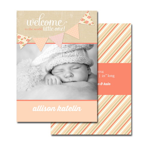 2-sided Birth Announcement (13-092-5x7)