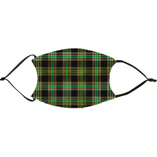 Black Gold Green Plaid Christmas Face Mask